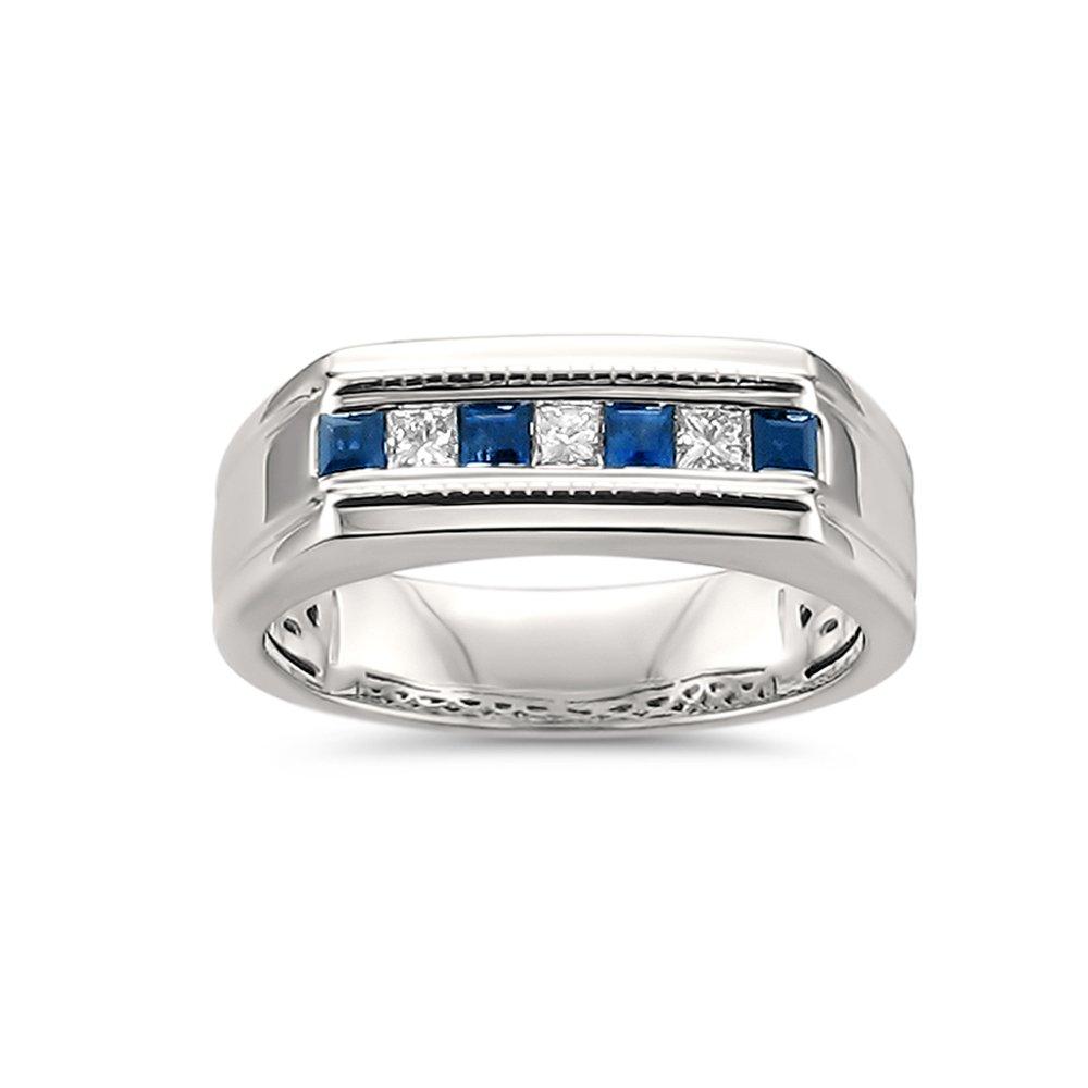 14k White Gold Princess-cut Diamond & Sapphire Men's Milgrain Wedding Band Ring (1/2 cttw, I-J, SI2-I1), Size 9