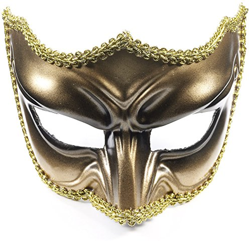 Forum Novelties Adult Gold Black Scowling Demon Devil Costume Half Mask ()