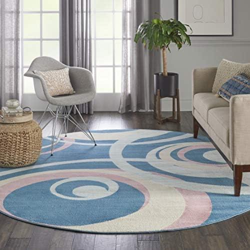Nourison GRF21 Grafix Retro Eclectic Blue Multi Colored Area Rug 8 x Round, xROUND