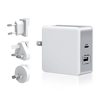 LREGO Cargador de pared USB tipo C PD, 57 W, 2 puertos USB C PD, ...