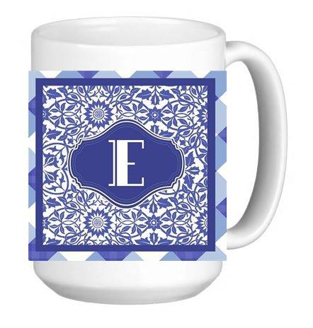 (Monogram Initial Letter E 15 ounce Ceramic Coffee Mug Tea Cup)