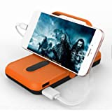 Solar Charger By Blazars Inc External Battery Back Up Portable Smartphone USB Charger Power Bank With High Efficiency SunPower Solar Panel with LED Torch Flashlight and Phone Stand