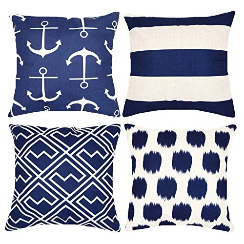 Decorative Navy Blue Nautical Anchors Throw Pillow Covers 18 x 18 Inch Set of 4, Munzong Geometric Stripe Dots Shakes Cotton Linen Outdoor Cushion Cover Square Pillowcase for Car Sofa Couch Home Decor
