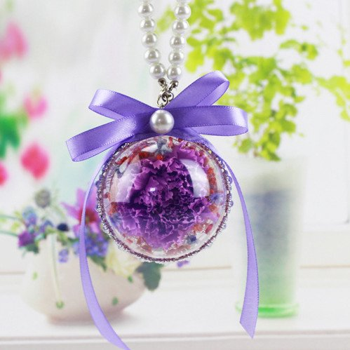 DeFancy Handmade Preserved Fresh Carnation Hanging Ornaments Car Pendant Gift for Mother's Day (Purple)
