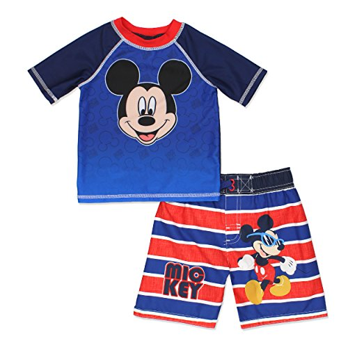 5e3704cadac09 Galleon - Mickey Mouse Roadster Racers Toddler Boys Swim Trunks And Rash  Guard Set (2T, Red/Blue)
