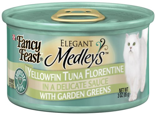 Fancy Feast Gourmet Cat Food, Yellowfin Tuna Florentine in Sauce with Garden Greens, 3-Ounce Cans (Pack of 24), My Pet Supplies