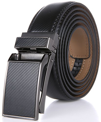 Marino Avenue Men's Genuine Leather Ratchet Dress Belt with Linxx Buckle - Gift Box (Black Design Leather Buckle with Black Leather, Adjustable from 38
