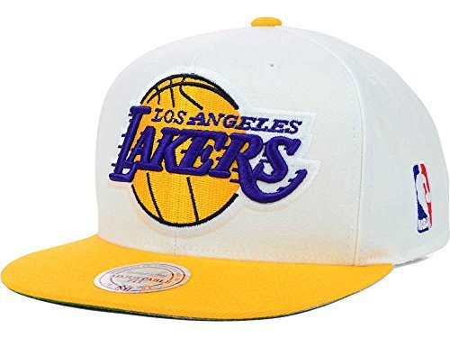 (Los Angeles Lakers NBA Mitchell & Ness XL Logo Two Tone Snapback Cap (White/Gold))