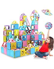124PCS Magnetic Building Blocks Magnet Tiles Early Educational & Development Toys for 3 4 5 6 7 Years Old Boys Girls Gifts
