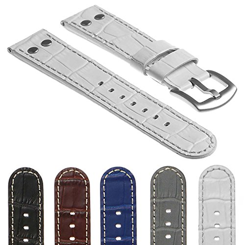 DASSARI Quick Release Croc Embossed Mens Leather Pilot Watch Band Strap w/Rivets 18mm 20mm 22mm (Band Rivets)