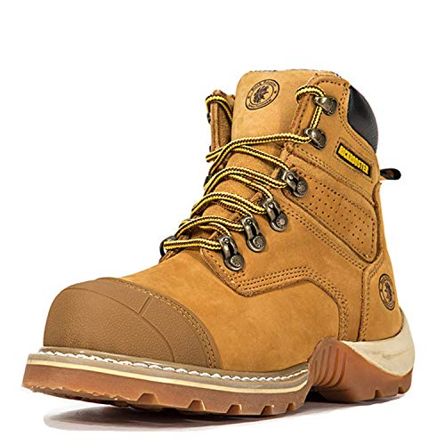 (ROCKROOSTER Work Boots for Men, Composite Toe Waterproof Safety Working Shoes(AP268-safe, 8-Camel))