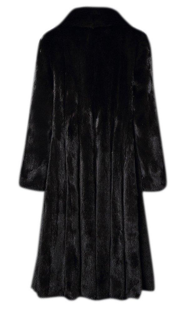 AZIZY Women's Black Luxury Faux Mink Fur Slim Lapel Long Sleeve Thick Warm Maxi Coat 2XL by AZIZY (Image #5)