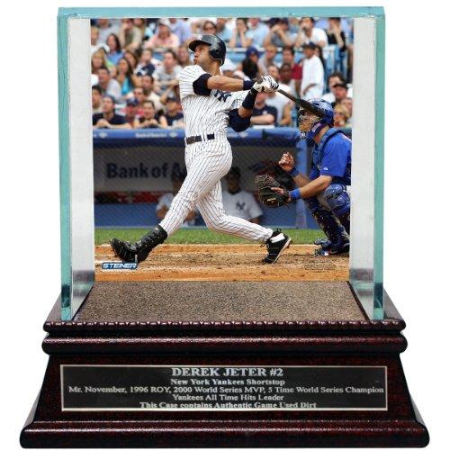 Single Baseball Glass Case (Derek Jeter Moments: 1st Grand Slam Background Glass (Single) Baseball Case With Yankee Stadium Authentic Dirt Nameplate)