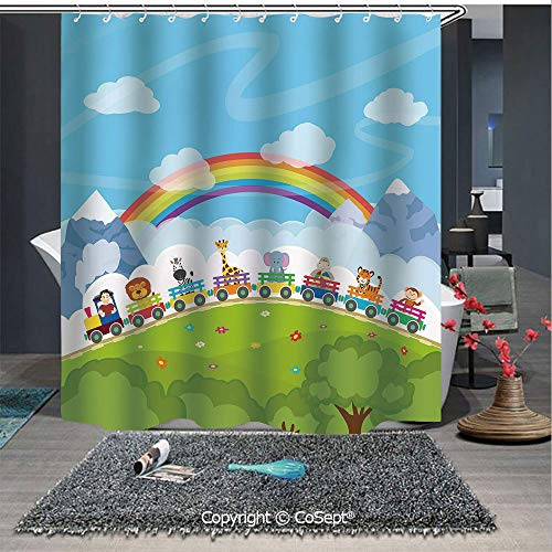 SCOXIXI Shower Curtain with Hooks,Cartoon Railway Train with Various Animals and a Rainbow Mountains Clouds Trees,for Bathroom(70.86