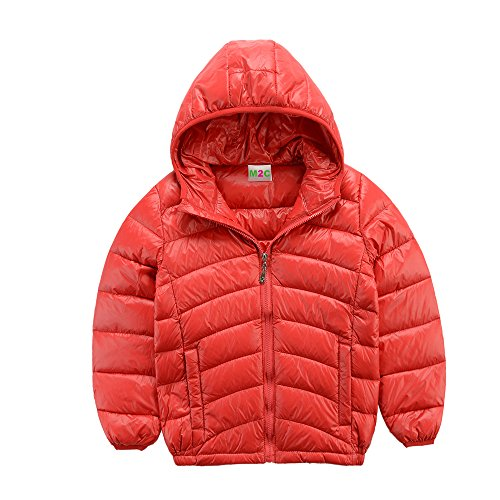 M2C Boys Ultralight Hooded Down Jacket Warm Lightweight Puffer Down Jacket for Boy,Red,4T