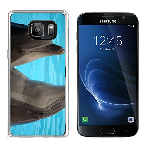 MSD Samsung Galaxy S7 Clear case Soft TPU Rubber Silicone Bumper Snap Cases IMAGE ID 19721954 Dolphins dancing in water during show in Loro Parque in Tenerife Spain