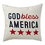 Hallmark Home Indoor/Outdoor Pillow with Cover, '' God Bless America'' 16'' Square