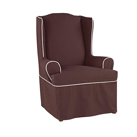 SureFit Monaco Tailored Skrt   Wing Chair Slipcover   Chocolate/White