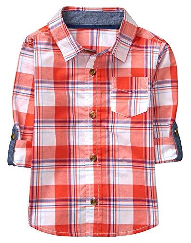 Crazy 8 Toddler Boys' Long Sleeve Adjustable Button Down Woven Shirt, Orange/White Plaid, 12-18 Mo