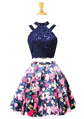V Style Floral Brides 9 Evening Dresses Deep Dresses Party AngelCity Homecoming Short Neck wYSZxnqZ