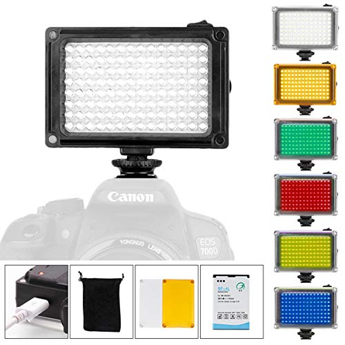 ULANZI 96 LED Camera Light with Battery and 6 Color Gels, Portable Photo Video Panel Vlog Lighting for DJI Ronin S OSMO Mobile 2 Moza Zhiyun Gimbal Canon Nikon Sony A6400 Camera Accessories
