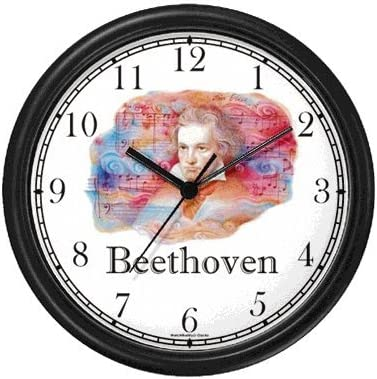 Ludwig van Beethoven 3 Musician – Music Composer Wall Clock by WatchBuddy Timepieces Black Frame