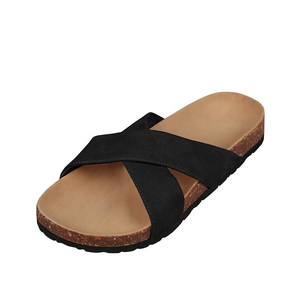 f85129a75be Womens cross strap flatform slides cork footbed slip on flat platform  sandals slides jpg 1000x1000 Platform