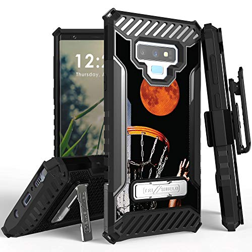 Trishield Series for Note9 Case, Military Grade Rugged Cover + [Metal Kickstand]+[Belt Clip Holster] for Samsung Galaxy Note 9 (2018) - Basketball Red Moon