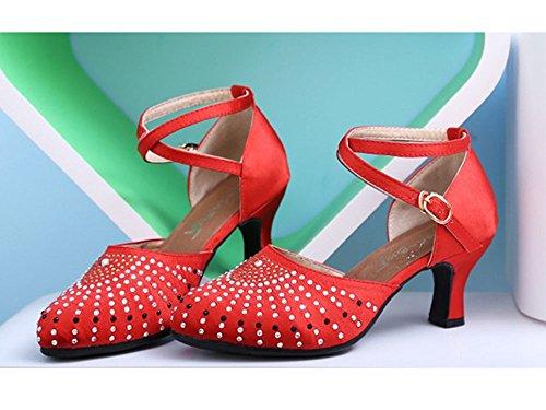 Dayiss Damen Strass Tanzschuhe Latein Abendschuhe Knöchelriemen Schnalle mit Absatz und Gummisohle Rot