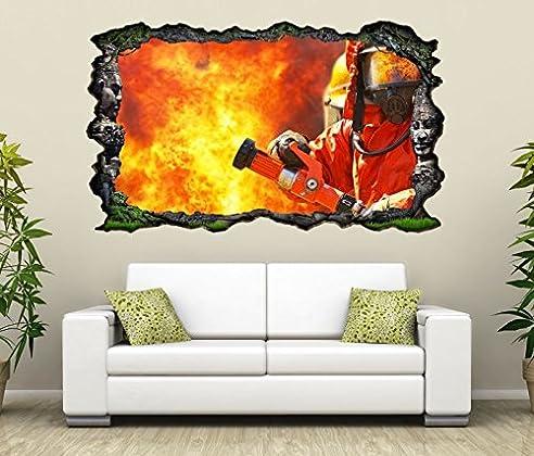 3d wandtattoo feuerwehrmann feuer feuerwehr flamme bild selbstklebend wandbild sticker wohnzimmer wand aufkleber 11g693 wandbild - Wohnzimmer Feuer