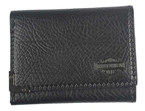s Gunmetal Bar & Shield Leather Tri-Fold Wallet GM6549L-BLK ()