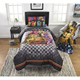 TN 2 Piece Kids Grey Five Nights At Freddys Comforter Twin/Full Set, Blue Freddy Fazbears Bedding Pizza Themed Brown Bears, Reversible Polyester