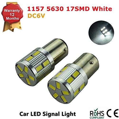 1157 BAY15D S25 White 6K 6v LED Car Stop/Turn/Reverse/Tail Light Bulb Lamps - Negative Ground (Pack of 2)