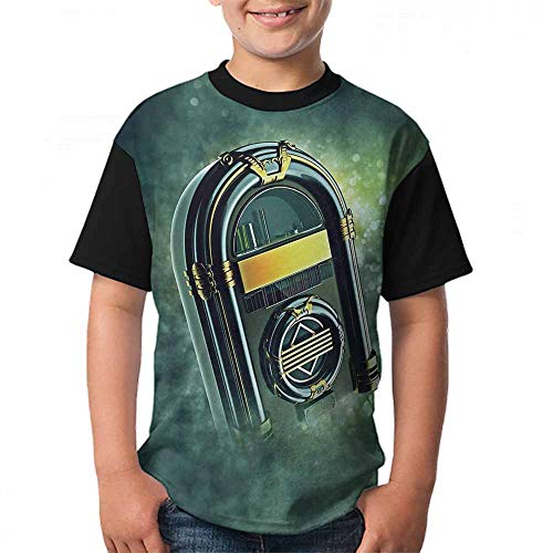 Jukebox Fashion T-Shirt Abstract Grunge Antique Radio Music Box on Blurry Backdrop Print Size:S Forest Green Yellow and White ()