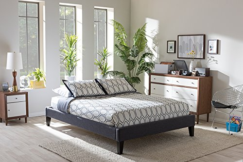 Baxton Studio Lancashire Queen Bed in Dark Gray