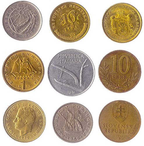 9 Different Coins Picked from These Southern European Countries: Albania, Croatia, Greece, Italy, Malta, Portugal, Serbia, Slovenia, Spain