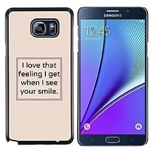 TECHCASE---Cubierta de la caja de protección para la piel dura ** Samsung Galaxy Note 5 ** --Veo el texto del cartel sonrisa amarillenta inspirador