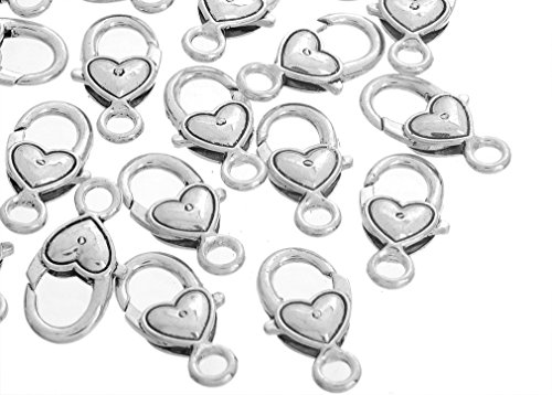 Jumper Ring - Souarts Antique Silver Color Heart Shape Lobster Clasps Pack of 20pcs
