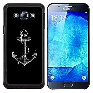 Ancla Negro Blanco Minimalista Marinero- Metal de aluminio y de plástico duro Caja del teléfono - Negro - Samsung Galaxy A8 / SM-A800