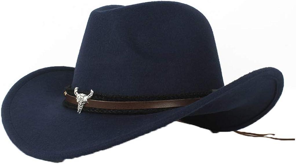 ASO-SLING Men Faux Felt Wide Brim Western Cowboy Hat Outback Cattlemen Hat with Leather Belt