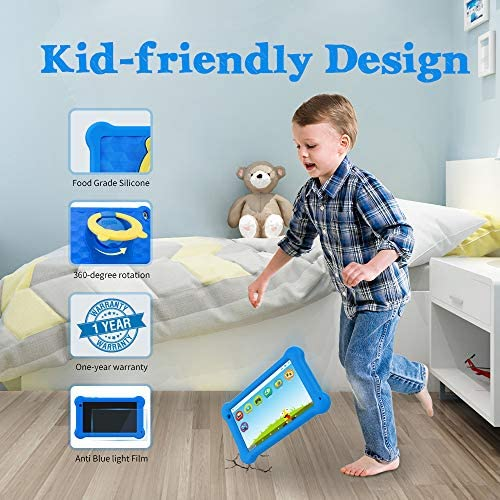 Kids Tablet 7 inch 2021 WiFi Android 10 Tablet PC New FHD 1920x1200 IPS Screen, 2GB RAM 32GB ROM, Parental Control, Kidoz Installed, Eye Protection Anti Blue Light Screen