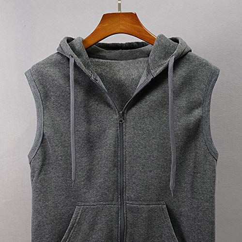 WUAI Clearance Men's Hoodie Jackets Sleeveless Slim Fit Waistcoat Solid Color Athletic Sports Tops(Grey,US Size S = Tag M) by WUAI (Image #2)