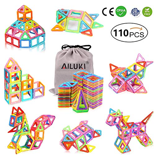 AILUKI 110 PCS Magnetic Blocks, 3D Building Educational STEM Toys for Girls & Boys,Tiles with Innovative Build Magnets Great Gift for Toddlers,All of Them are Real Strong Magnetic Blocks
