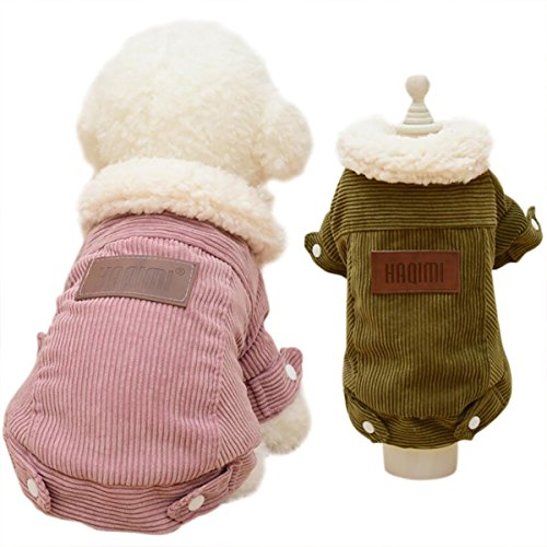 Omerker Fleece Winter Dog Coats Dog Jackets Apparel for Small Dogs Pet Puppy Clothes (X-Small, Pink) - Fleece Lined Corduroy Dog Coat