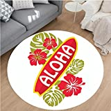 Nalahome Modern Flannel Microfiber Non-Slip Machine Washable Round Area Rug-Surfboard with Tropical Flowers Leaves Typographical Hawaii Islands Picture Green and Red area rugs Home Decor-Round 67''