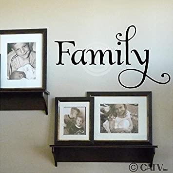 (12.5x23) Family wall decal vinyl lettering (Black)