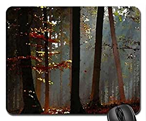 Morning mist Mouse Pad, Mousepad (Forests Mouse Pad, Watercolor style)