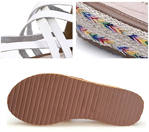 H&W Mujer Micro Cuero Planas Thong Sandalias Gladiator 3.5CM Esparto Gum Goma Soles Blanco
