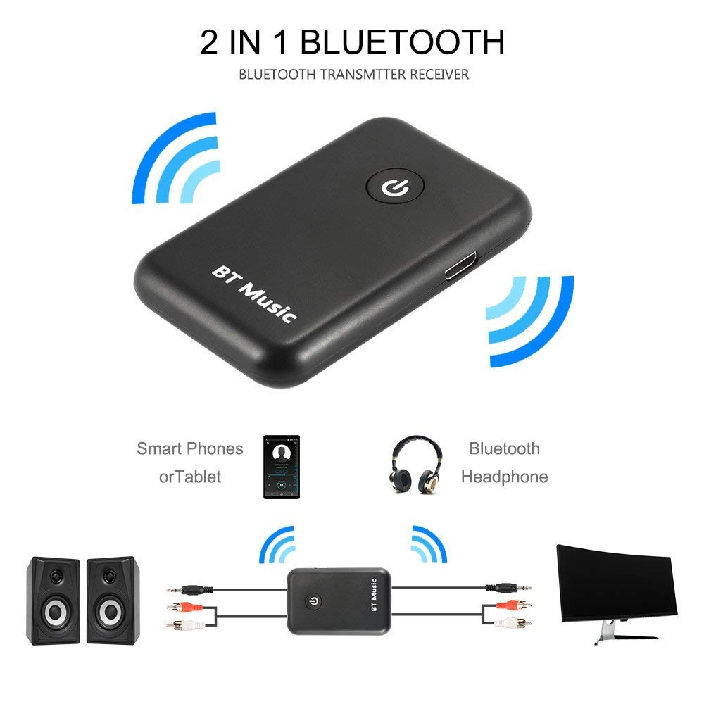 Bluetooth 4.2 Transmitter Receiver, Long Distance 2in1 Wireless HiFi Adapter Toslink/SPDIF 3.5mm Jack APTX for Home Stereo Audio System Sxstar