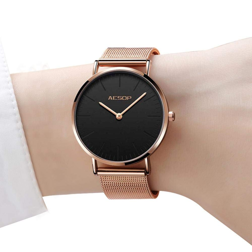 Amazon.com: Ultra Thin Wrist Watches for Women,Minimalist Black Watch Women,Rose Gold Dress Watch Black Dial,Simple Watches for Women,Fashion Lady Quartz ...